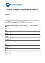 Skjema for bedømmelseskomité for doktorgradsdisputas