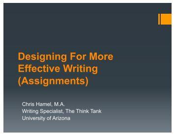 Design for More Effective Writing - University of Arizona
