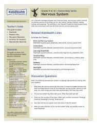 Teacher's Guide: Nervous System (Grades 9 to 12) - KidsHealth