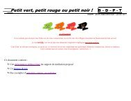 Petit vert, petit rouge ou petit noir ! B – D – P - T - Instit90