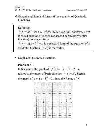 55 Solving Problems With Quadratic Relations Standard Form