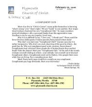 Plymouth Church of Christ Bulletin For 2006-02-12