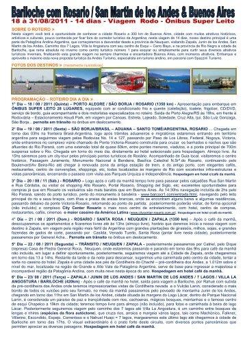 sobre o roteiro - Andes - Viagens e Turismo
