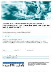 Antragsformular mit Wegleitung für Firmen - Natur & Wirtschaft