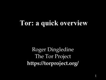 Tor: a quick overview - The Free Haven Project