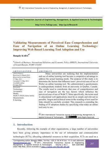 Validating Measurements of Perceived Ease Comprehension and ...