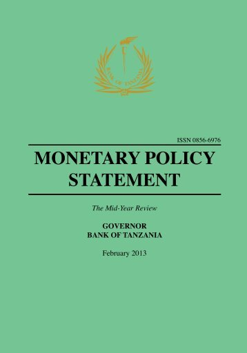 MONETARY POLICY STATEMENT - Bank of Tanzania