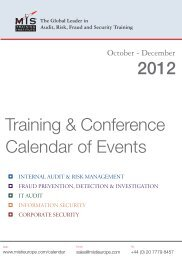 Training & Conference Calendar of Events 2012 - MIS Training