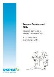 Personal Development Skills - RSPCA Victoria
