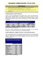 ıncomıng turizm raporu / eylül 2010