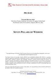 Seven Pillars of Wisdom - The Rimini Centre for Economic Analysis
