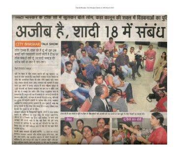 Dainik Bhaskar, City bhaskar Dated on 16th March 2013 - IIM Raipur