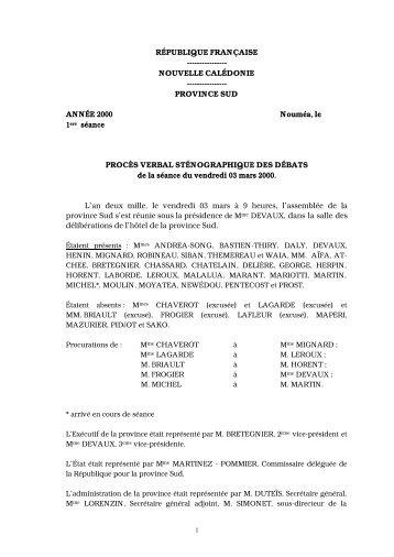 RÉPUBLIQUE FRANÇAISE - Province sud