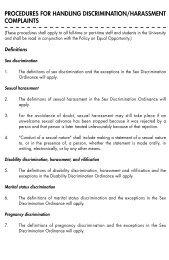 PROCEDURES FOR HANDLING DISCRIMINATION/HARASSMENT