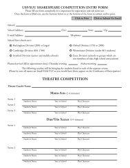THEATRE COMPETITION - Utah Shakespearean Festival