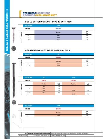 Bugle Batten, Countersunk Head - RGA and PSM Fasteners