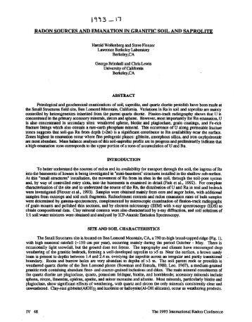 Radon Sources & Emanation in Granitic Soil & Saprolite - aarst