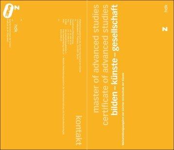 Information brochure - IAE - Zürcher Hochschule der Künste