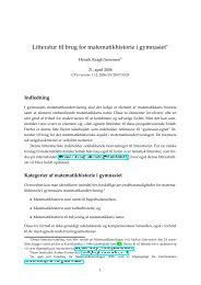 Litteratur til brug for matematikhistorie i gymnasiet - Home page of ...