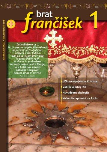 Urednikova beseda bf 1/2010 - Frančiškani v Sloveniji