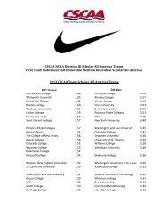 CSCAA NCAA Division III Scholar All-America Teams First Team ...