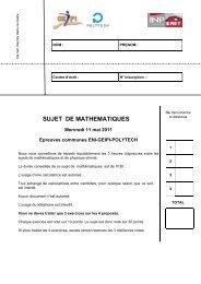 SUJET DE MATHEMATIQUES - Concours Geipi Polytech