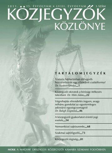 Közjegyzők közlönye 2011. 3. szám - Magyar Országos Közjegyzői ...