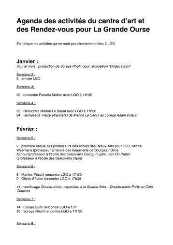 Agenda de la résidence - (ENSA) Dijon