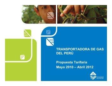 3.4. Presentación de sustento de propuesta tarifaria – TGP