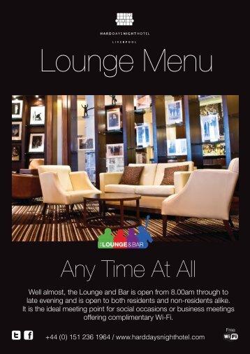 Lounge Menu - Hard Days Night Hotel