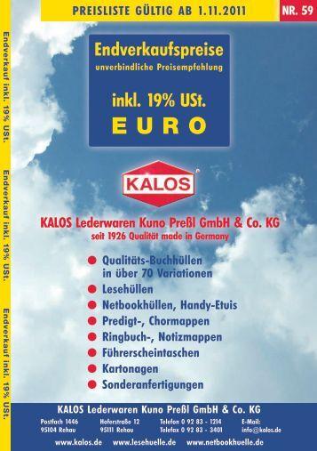 Endverkaufspreise inkl. 19% USt. - KALOS Lederwaren