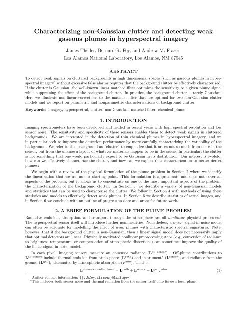Characterizing non-Gaussian clutter and detecting weak gaseous ...