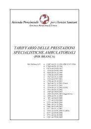 Tariffario prestazioni per branca - Azienda Provinciale per i Servizi ...