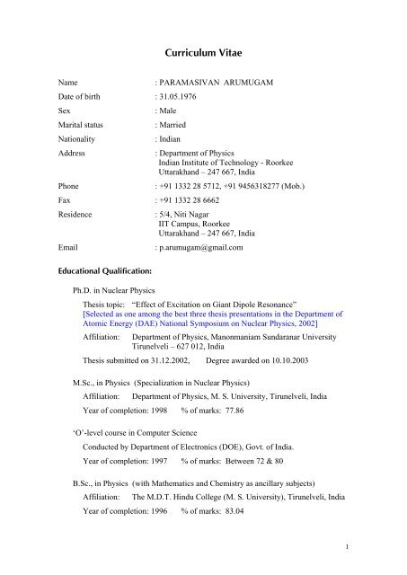 Curriculum Vitae Indian Institute Of Technology Roorkee
