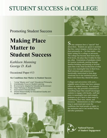 DEEP Practice Brief Making Place Matter to Student Success - NSSE