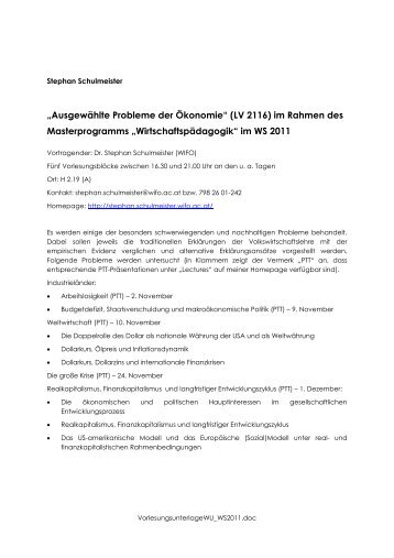"""""""Ausgewählte Probleme der Ökonomie"""" (LV 2116) im Rahmen des ..."""