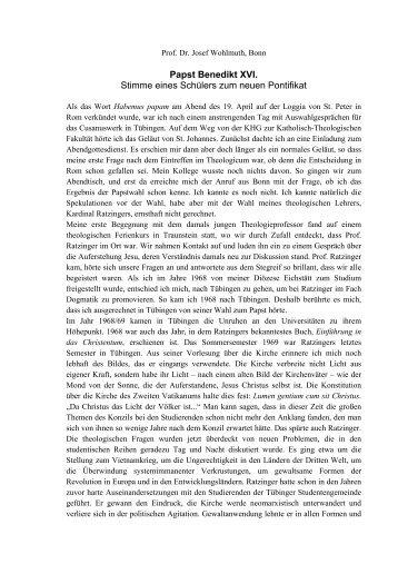 Prof. Dr. Josef Wohlmuth zum neuen Pontifikat - Cusanuswerk