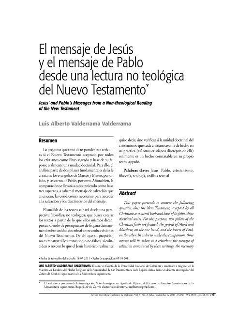 El mensaje de Jesús y el mensaje de Pablo desde una lectura no ...