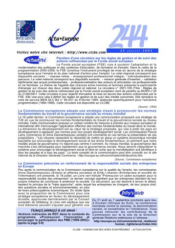 Actu Europe 244 du 25/07/2001 - EVTA