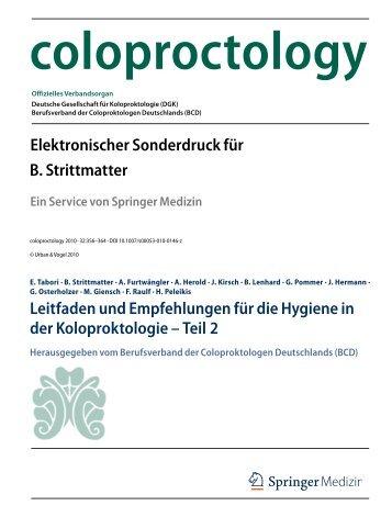 Leitfaden und Empfehlungen für die Hygiene (PDF) - Teil 2