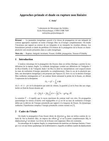 Approches primale et duale en rupture non linéaire - Giens 2009