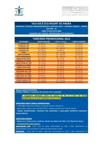 vila galé eco resort de angra tarifário promocional 2012 - Funcef