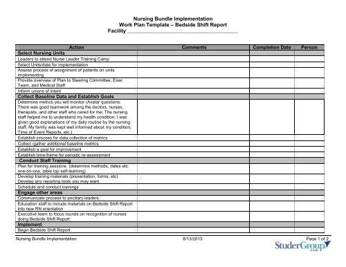 Nursing Bundle Implementation Work Plan Template â Bedside