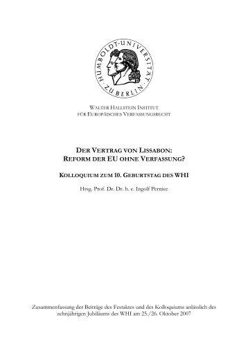DER VERTRAG VON LISSABON: REFORM DER EU ... - WHI-Berlin