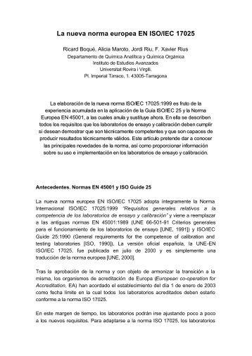 La nueva norma europea EN ISO/IEC 17025 - Universitat Rovira i ...