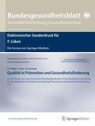 Bundesgesundheitsblatt Gesundheitsforschung ... - BVPG