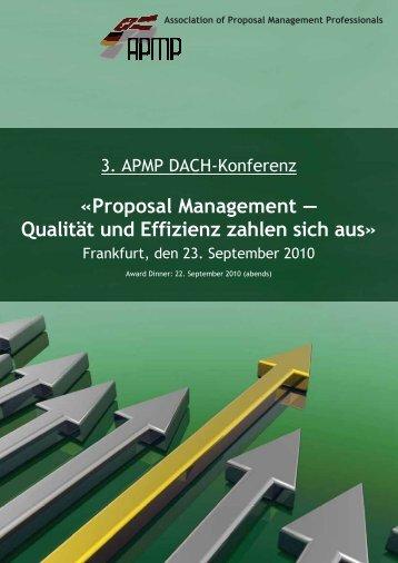 Proposal Management - Qualität und Effizienz zahlen ... - APMP DACH