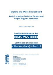 ECB Anti Corruption Code for players and player support personnel