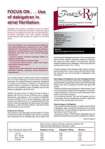 FOCUS ON . . . Use of dabigatran in atrial fibrillation - GGC Prescribing