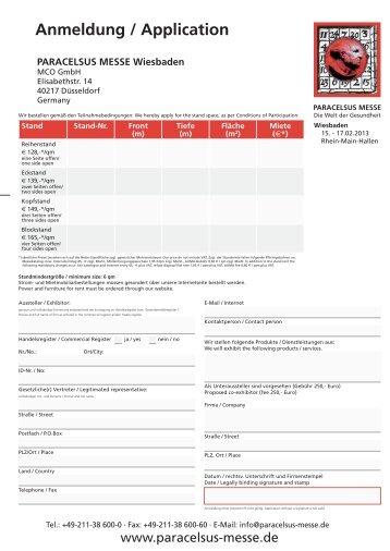 Anmeldung / Application - Paracelsus Messe